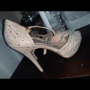 Champagne jeweled high heels